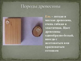 Ель – легкая и мягкая древесина, очень гибкая и эластичная. Цвет древесины од