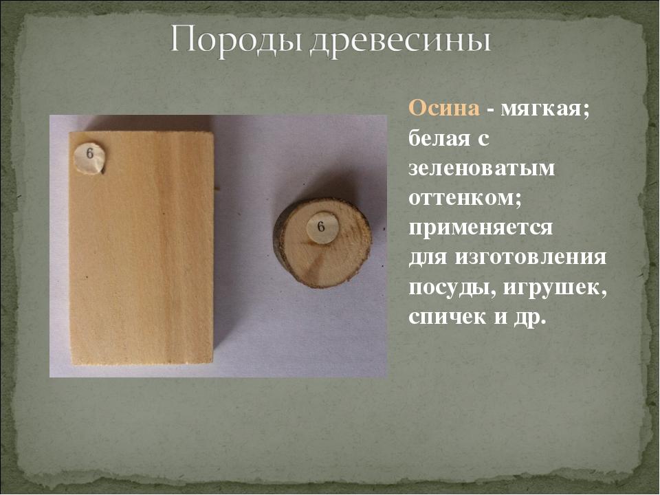 Осина - мягкая; белая с зеленоватым оттенком; применяется для изготовления по...