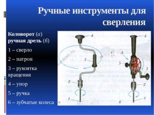 Коловорот (а) ручная дрель (б) 1 – сверло 2 – патрон 3 – рукоятка вращения 4