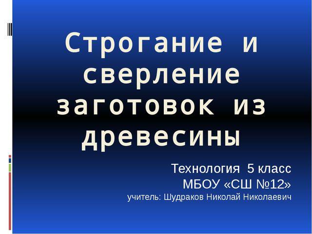 Строгание и сверление заготовок из древесины Технология 5 класс МБОУ «СШ №12»...