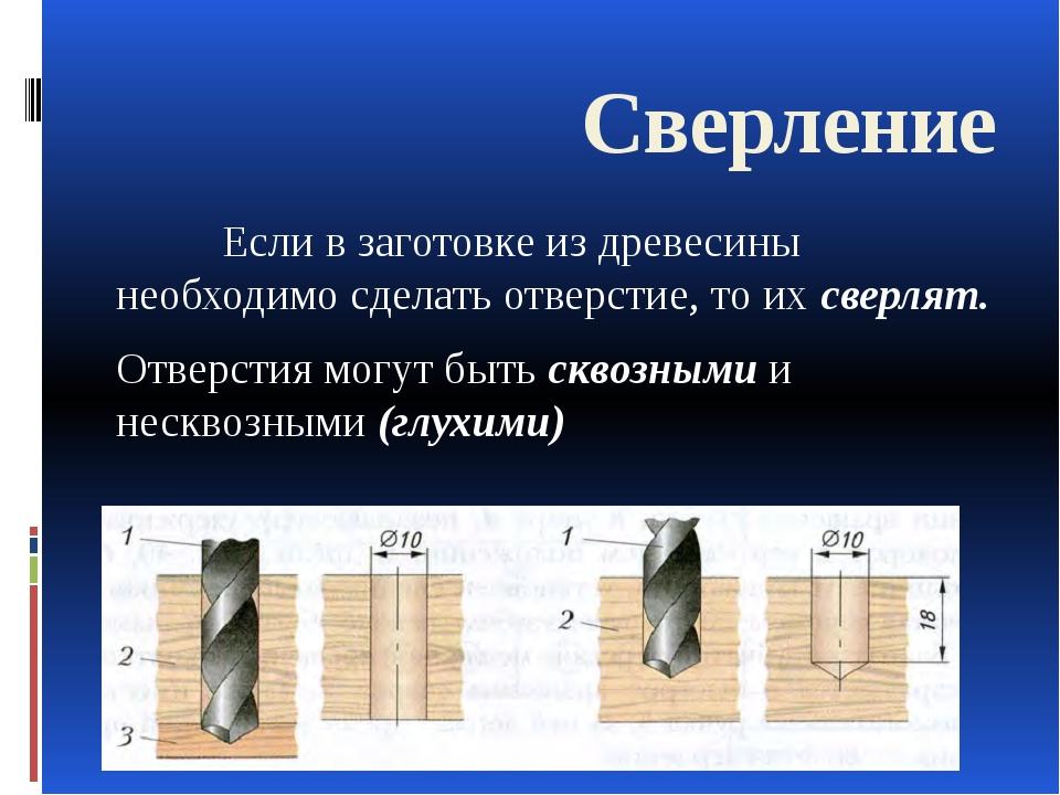 Сверление Если в заготовке из древесины необходимо сделать отверстие, то их...