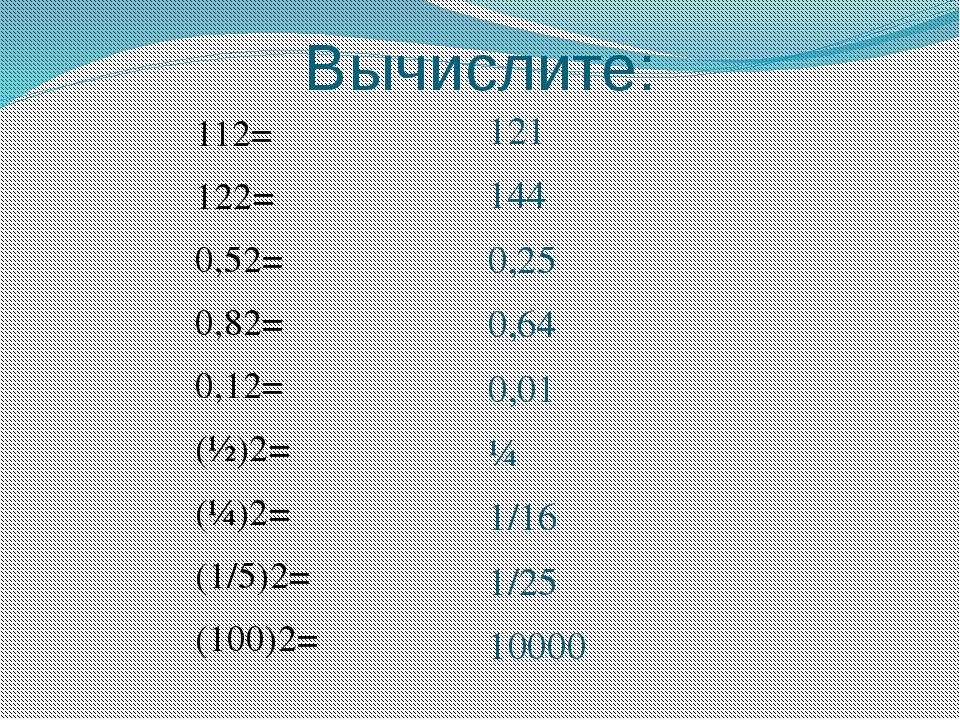 Вычислите: 112= 122= 0,52= 0,82= 0,12= (½)2= (¼)2= (1/5)2= (100)2= 121 144 0,...