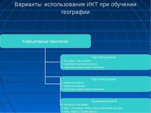 Варианты использования ИКТ при обучении географии