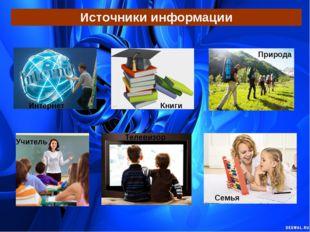 Источники информации Интернет Книги Природа Учитель Телевизор Семья