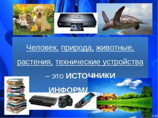 Человек, природа, животные, растения, технические устройства – это ИСТОЧНИКИ