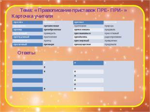 Тема: « Правописание приставок ПРЕ- ПРИ- » Карточка учителя Ответы присяга пр