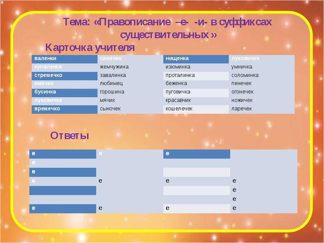 Тема: «Правописание –е- -и- в суффиксах существительных » Карточка учителя От...
