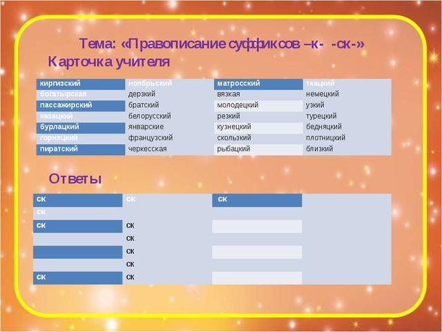 Тема: «Правописание суффиксов –к- -ск-» Карточка учителя Ответы киргизский но...