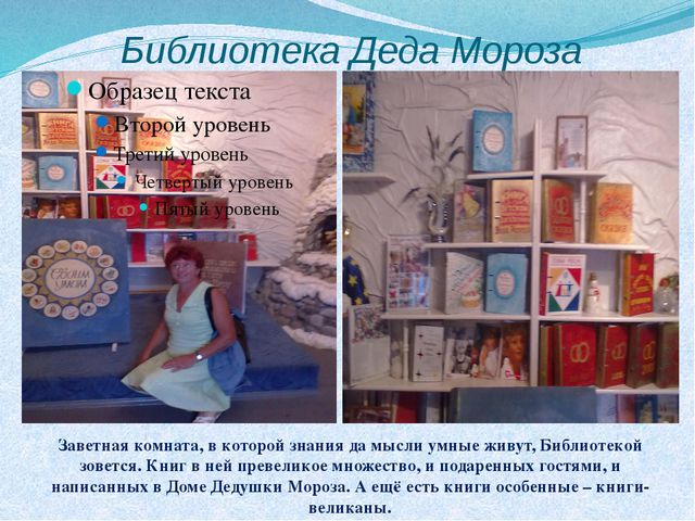 Библиотека Деда Мороза Заветная комната, в которой знания да мысли умные живу...