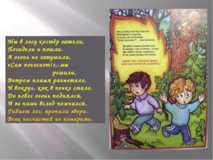 Мы в лесу костёр зажгли, Посидели и пошли. А огонь не затушили, «Сам погаснет