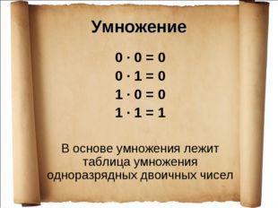 Умножение 0 · 0 = 0 0 · 1 = 0 1 · 0 = 0 1 · 1 = 1 В основе умножения лежит та