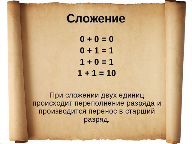 Сложение 0 + 0 = 0 0 + 1 = 1 1 + 0 = 1 1 + 1 = 10 При сложении двух единиц пр...