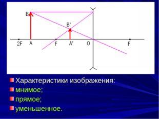 Характеристики изображения: мнимое; прямое; уменьшенное.