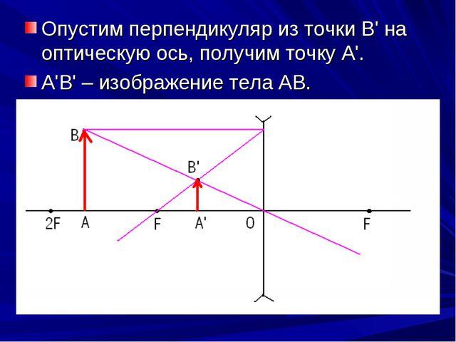 Опустим перпендикуляр из точки В' на оптическую ось, получим точку А'. А'В' –...