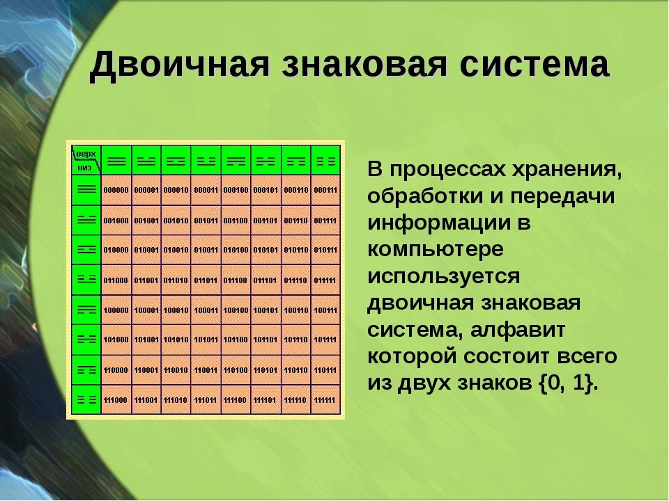 Двоичная знаковая система В процессах хранения, обработки и передачи информац...