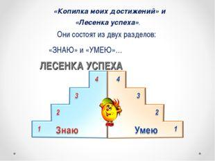 «Копилка моих достижений» и «Лесенка успеха». Они состоят из двух разделов: