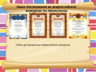 Наши достижения во всероссийских конкурсах по технологии Сайты дистанционных
