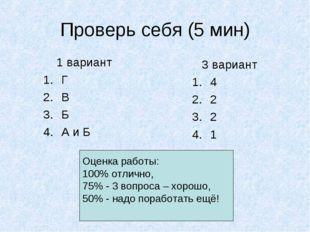 Проверь себя (5 мин) 1 вариант Г В Б А и Б Оценка работы: 100% отлично, 75% -