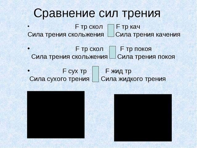 Сравнение сил трения F тр скол > F тр кач Сила трения скольжения > Сила трени...