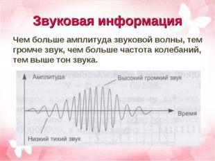 Звуковая информация Чем больше амплитуда звуковой волны, тем громче звук, чем