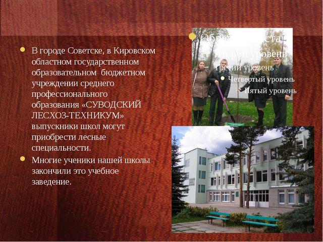 В городе Советске, в Кировском областном государственном образовательном бюд...