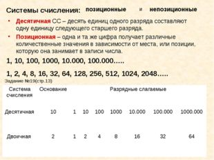Десятичная СС – десять единиц одного разряда составляют одну единицу следующе