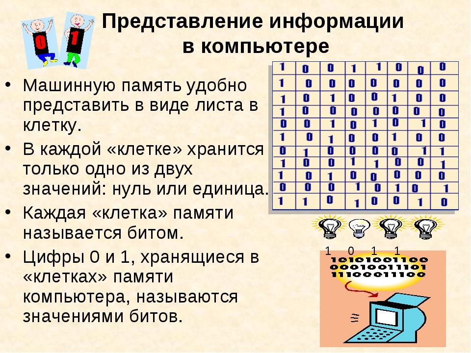 Представление информации в компьютере Машинную память удобно представить в ви...