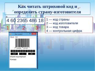 Как читать штриховой код и определять страну-изготовителя 4 60 2365 486 18 6