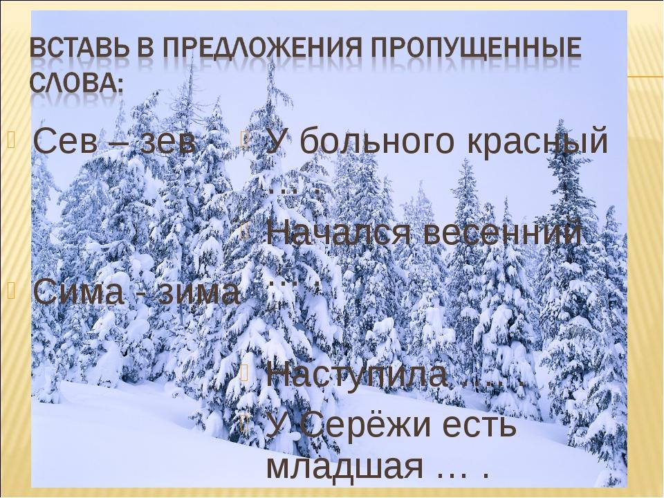 Сев – зев Сима - зима У больного красный … . Начался весенний … . Наступила …...