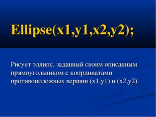Ellipse(x1,y1,x2,y2); Рисует эллипс, заданный своим описанным прямоугольником