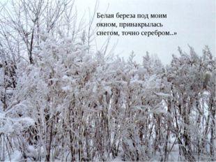 Белая береза под моим окном, принакрылась снегом, точно серебром..»