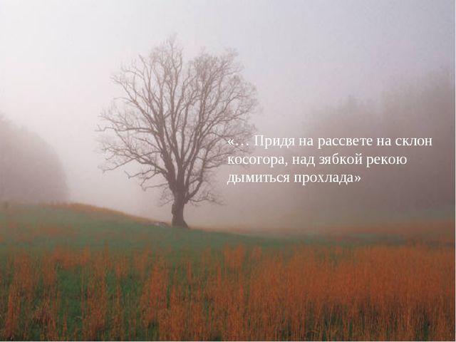 «… Придя на рассвете на склон косогора, над зябкой рекою дымиться прохлада»