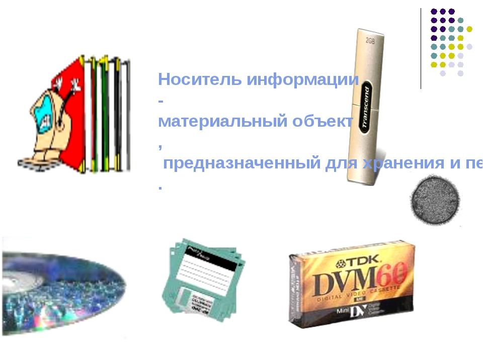 Носитель информации-материальный объект, предназначенный для хранения и пере...
