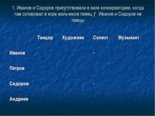 1. Иванов и Сидоров присутствовали в зале консерватории, когда там солировал