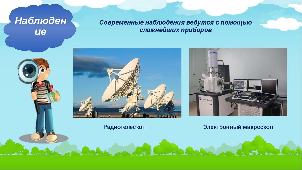 Современные наблюдения ведутся с помощью сложнейших приборов Наблюдение Радио...