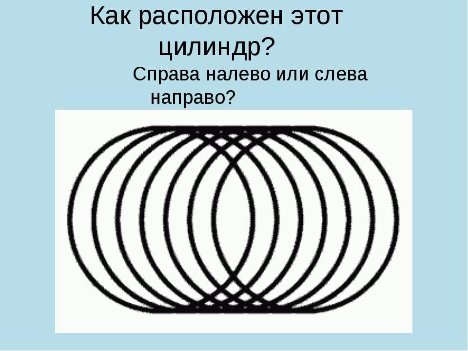 Как расположен этот цилиндр? Справа налево или слева направо?