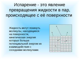 Испарение - это явление превращения жидкости в пар, происходящее с её поверхн