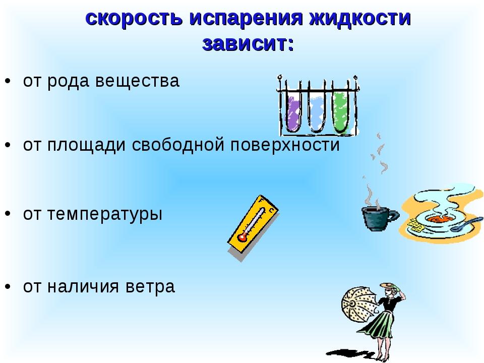 скорость испарения жидкости зависит: от рода вещества от площади свободной по...
