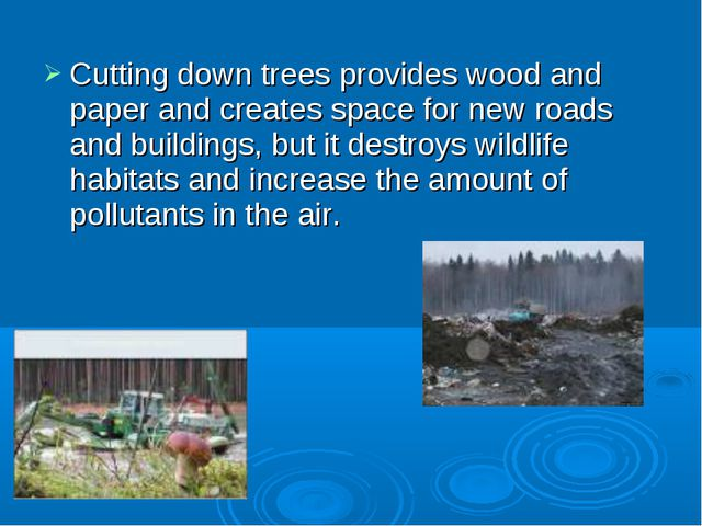 Cutting down trees provides wood and paper and creates space for new roads an...