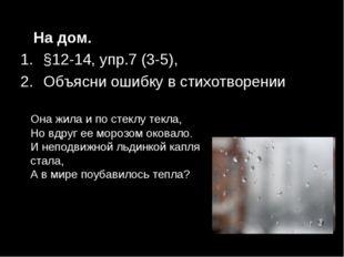 На дом. §12-14, упр.7 (3-5), Объясни ошибку в стихотворении Она жила и по ст