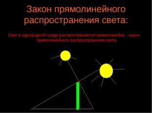 Закон прямолинейного распространения света: Свет в однородной среде распростр