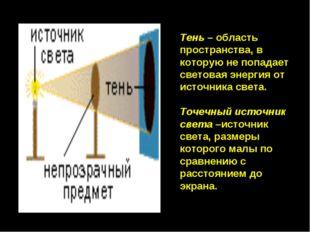 Тень – область пространства, в которую не попадает световая энергия от источн