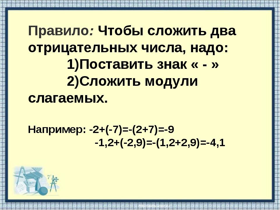 Правило: Чтобы сложить два отрицательных числа, надо: 1)Поставить знак « - »...
