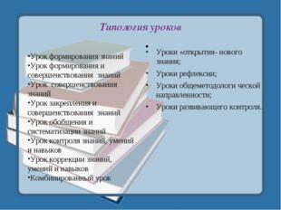 Типология уроков Урок формирования знаний Урок формирования и совершенствован