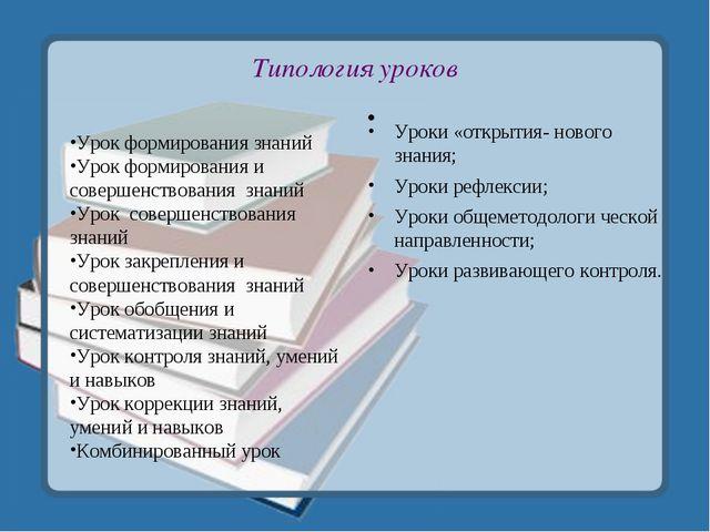 Типология уроков Урок формирования знаний Урок формирования и совершенствован...