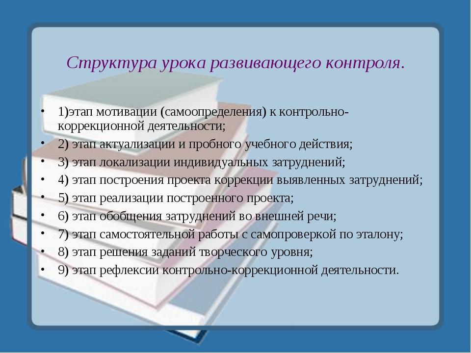 Структура урока развивающего контроля. 1)этап мотивации (самоопределения) к к...