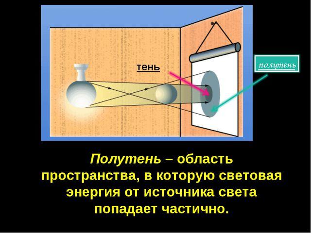 Полутень – область пространства, в которую световая энергия от источника свет...
