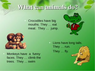 Monkeys have a funny faces. They … climb the trees. They ... swim What can an
