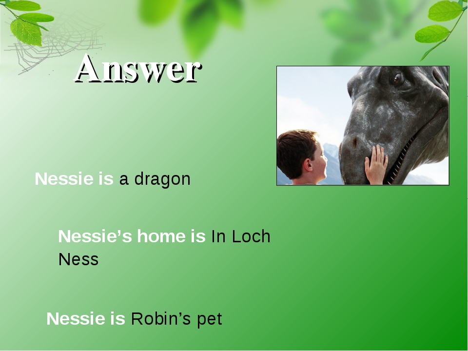 Answer Nessie is a dragon Nessie's home is In Loch Ness Nessie is Robin's pet
