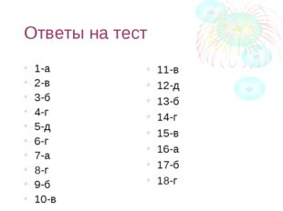 Ответы на тест 1-а 2-в 3-б 4-г 5-д 6-г 7-а 8-г 9-б 10-в 11-в 12-д 13-б 14-г 1